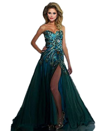 JCdress Sexy Peacock Prom Dress Formal Evening Party Dresses Gown (2, Green)