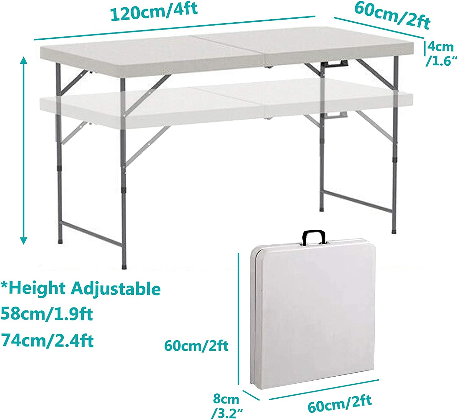 Folding Table 4FT Plastic Top Heavy Duty Steel Frame Foldable Fold in Half Portable Adjustable Height Picnic Party Camping Outdoor Event Catering Trestle BBQ Buffet Heavy Duty 4x2x2.4ft