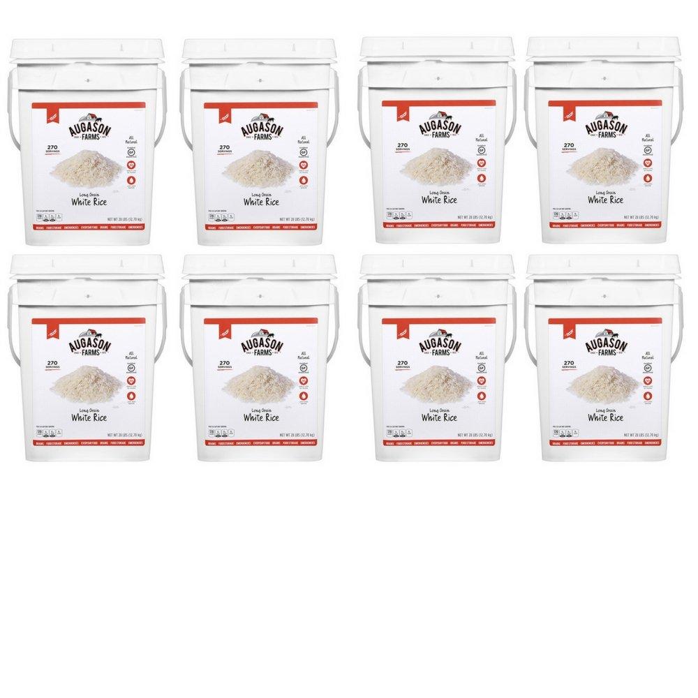 Augason Farms Long Grain White Rice Emergency Food Storage 28 Pound Pail (8 Pail)