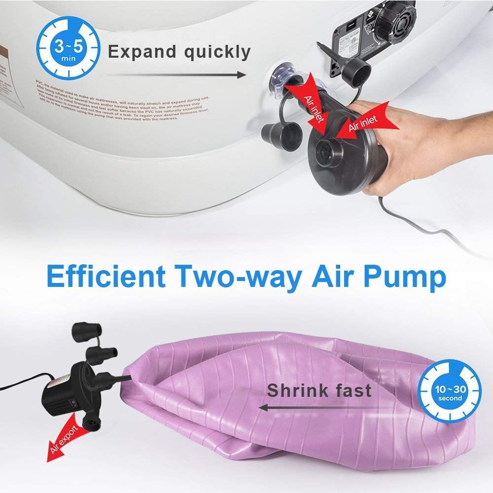 220V AC//12V DC 2 in 1 Portable Air Mattress Pump Universal Electric Pump for Inflatables Paddling Pool Airbeds AJIAMA UK plug Electric Air Pump Two-way Air Pump with 3 Nozzles etc