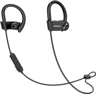 Mpow D9 Bluetooth Headphones Sport, 16H Playback aptX Bass Sound Wireless Sport Earbuds, Bluetooth 5.0 Wireless Headphones, IPX7 Waterproof Running Earphones w CVC6.0 Noise Cancelling Mic, Black