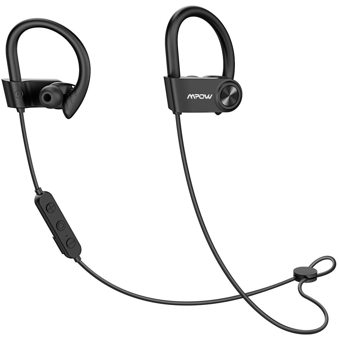 Mpow D9 Bluetooth Headphones Sport,16H Playtime IPX7 Waterproof Wireless Headphones Sport Earbuds W aptX Bass Stereo, Running Headphones Bluetooth Earphones W CVC 6.0 Noise Cancelling Mic, Black