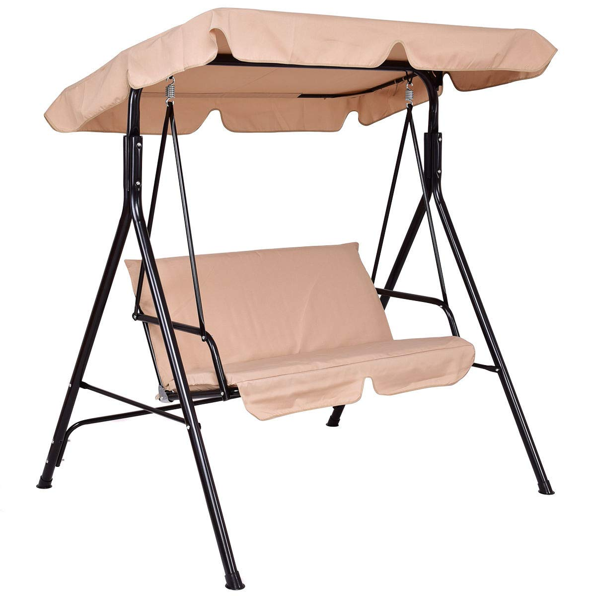 STS SUPPLIES LTD Garden Swing loveseat Beige Metal Shade Cushions Couch Swinging Yard Outdoor Furniture & E Book by Easy 2 Find.
