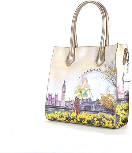 YNOT? J 375 Shopping Bag Donna flower tower UNICA: Amazon.it