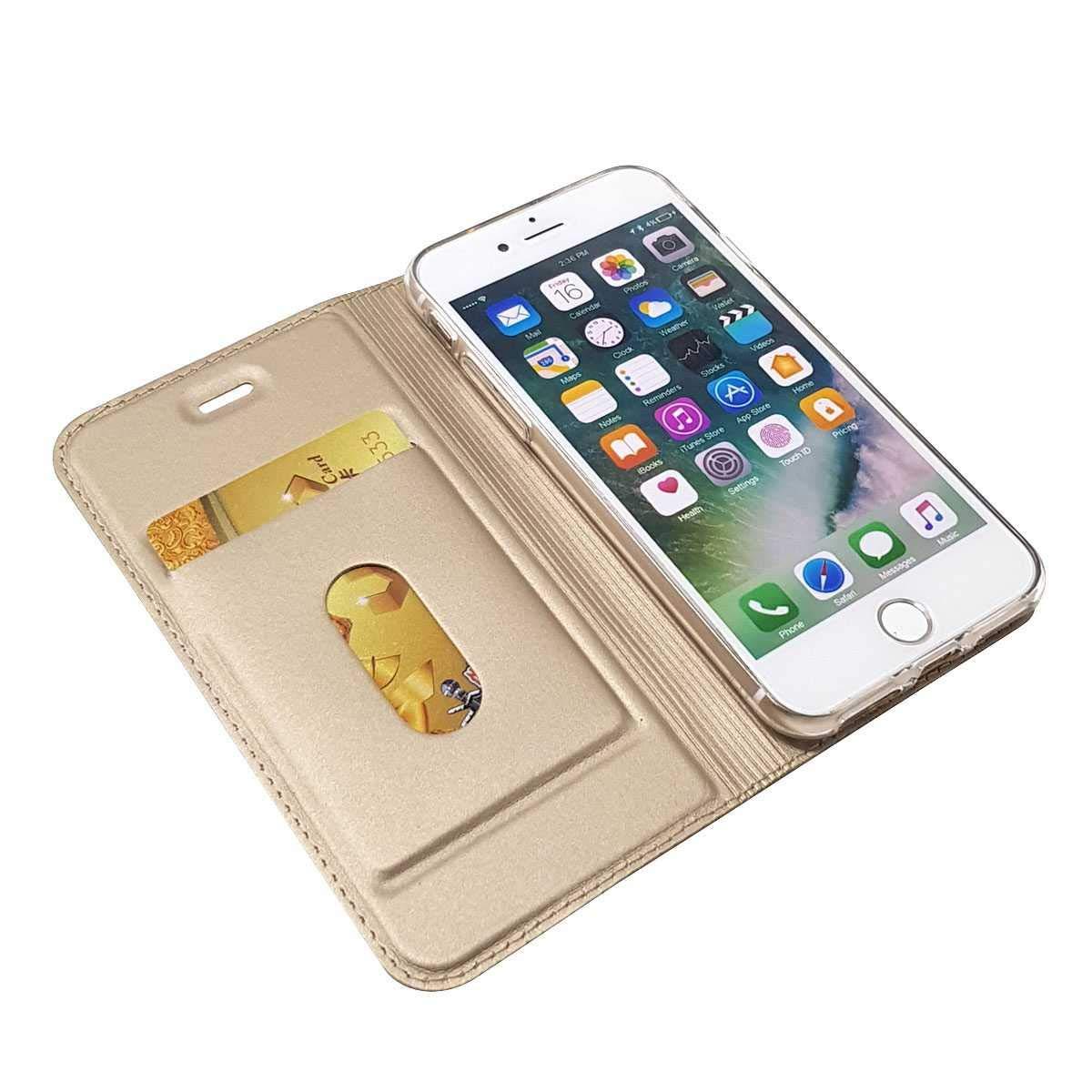 Cierre Magn/ético Elegante Case para Apple iPhone 7 // iPhone 8 Funda iPhone 7 // iPhone 8 Soporte Plegable GORASS PU Cuero Flip Billetera Funda con Ranuras de Tarjeta Azul