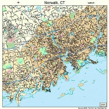 Amazon.com: Large Street & Road Map of Norwalk, Connecticut CT ...