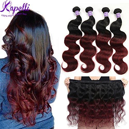 Ombre Brazilian Hair Body Wave Bundles 4pcs,Ombre Brazilian Virgin Hair Human Hair Weave Two Tone Black to Burgundy (T1B/99J,20'' 22'' 24'' 26'') by Kapelli Hair
