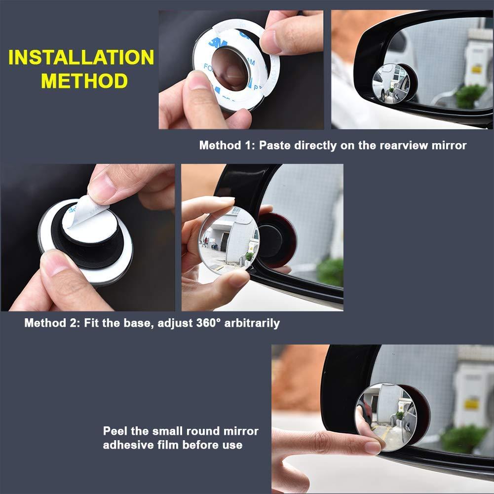 ILYPLUS Blind Spot espejo 2 Pcs 360 /° Rimless HD Espejo Angulo Muerto Gran Angular Espejo Retrovisor de Coche Lado Espejo Stick de Coche Universal Fit