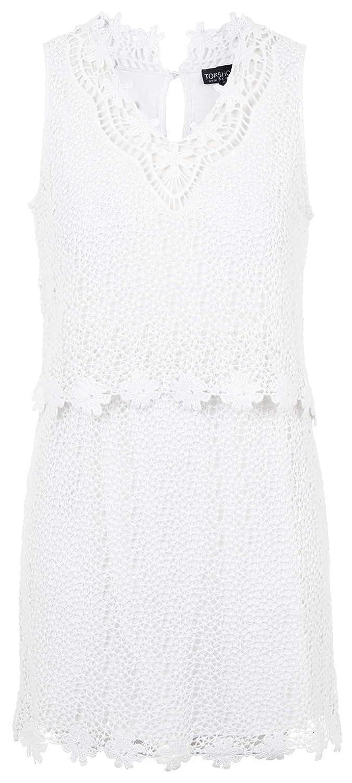 New Topshop White Crochet Overlay Cotton Mini Dress, Size 10: Amazon.co.uk: Clothing