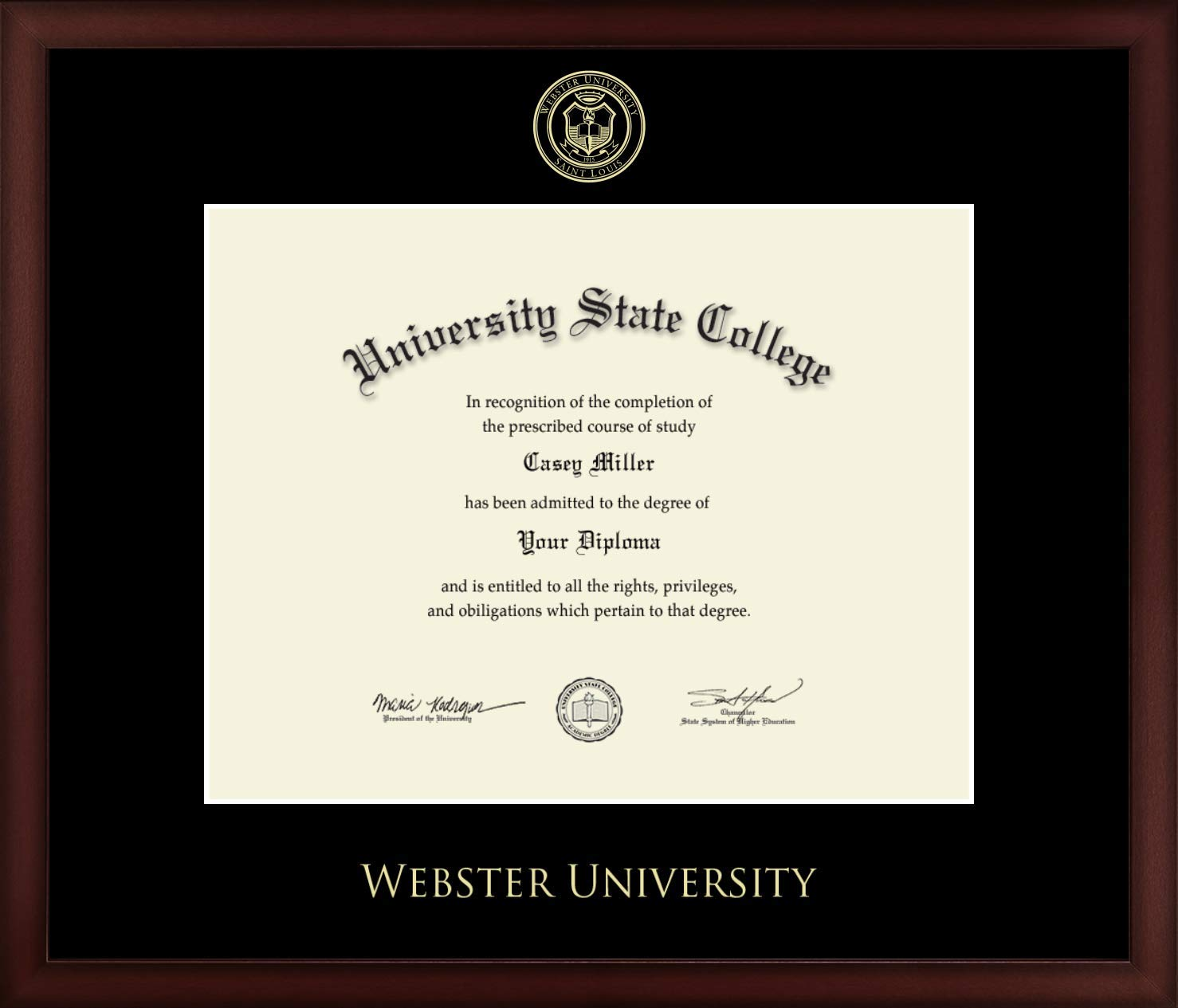 Webster University - Officially Licensed - Gold Embossed Diploma Frame - Diploma Size 13.75'' x 10.75''