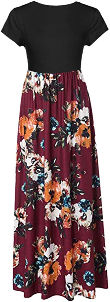 Dresses for Women Floral Printed Maxi Dress Short Sleeve O-Neck Casual Party Tunic Long Sundress
