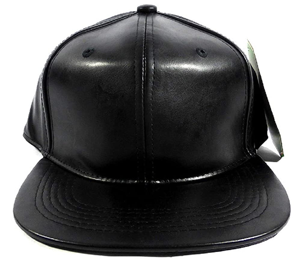 Amazon.com  Black Faux Leather Snapback Hat Cap  Apparel   Clothing bf94b118109
