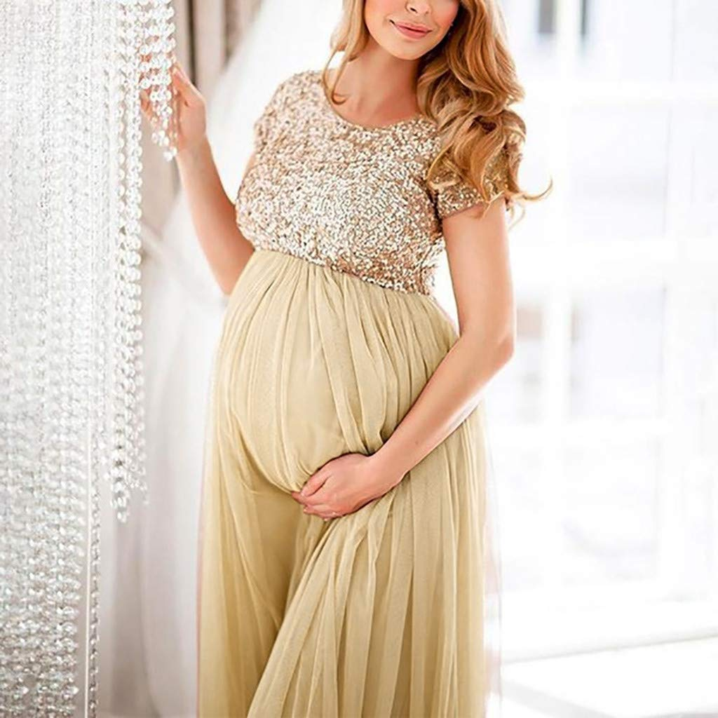 Battnot Damen Umstandskleider Fotografie Requisiten Phantasie Sommer Frauen Mutterschaft Schwangere Rundhals Pailletten Elegant Festlich Hochzeit Party Lange Maxikleid Pregnants Dress S-3XL