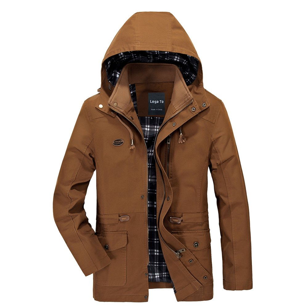 Lega Men's Cotton Hooded Coat Zip Windbreaker Jacket