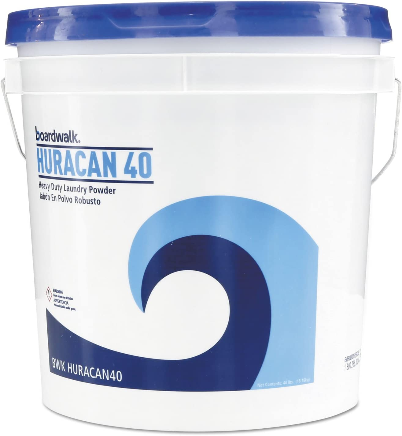 Boardwalk HURACAN40 Low Suds Industrial Powder Laundry Detergent, Fresh Lemon Scent, 40lb Pail