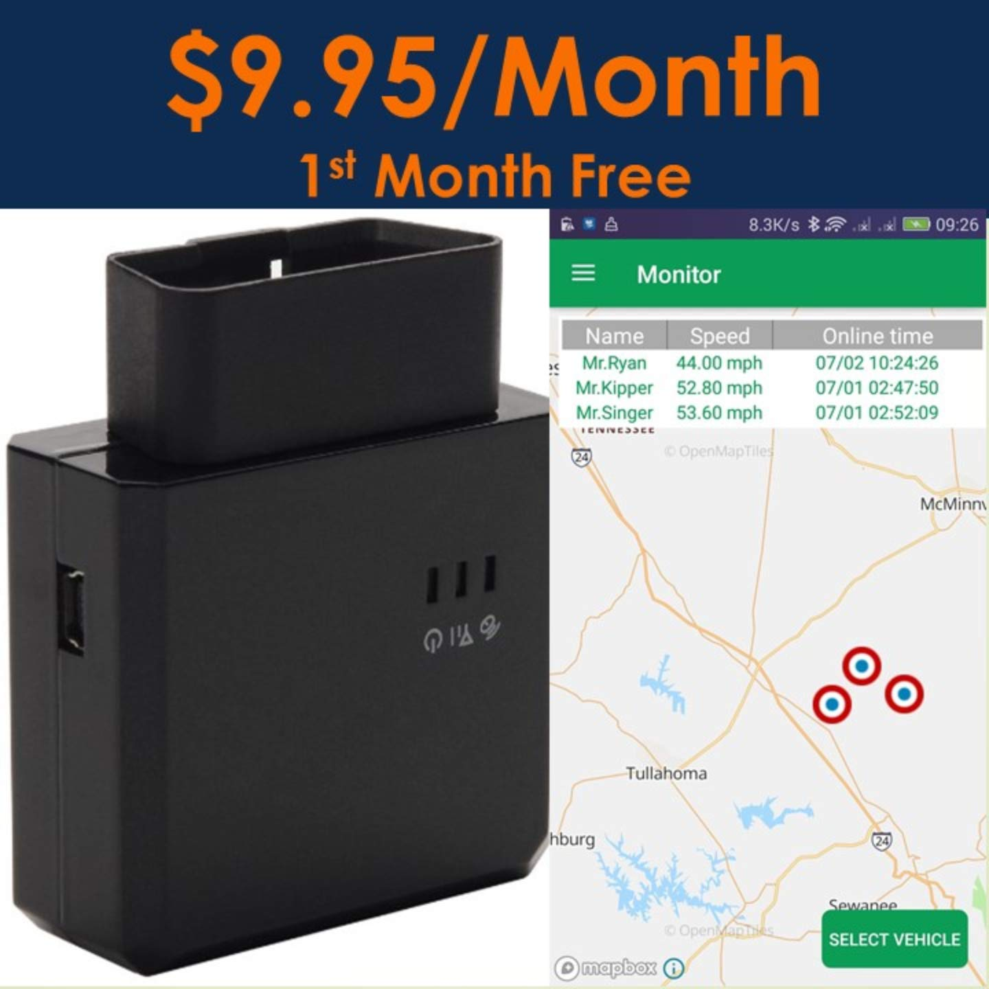 Spectrum Smart: 3G OBD II GPS Tracker Vehicles, Car Real Time GPS No Contract, Driving Monitor Teens, Fleet Tracking Device, One Month Free Service Spectrum Tracking