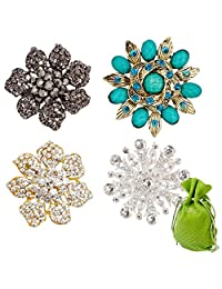 BMC Womens 4pc Mixed Design Colorful Rhinestone Flower Fashion Brooch Pins