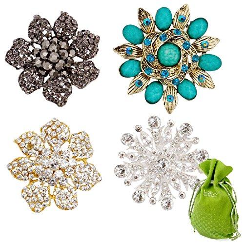 BMC Womens 4pc Colorful Rhinestone Fashion Mixed Metal Brooch Pins - Evening Flower - Leaf Rhinestone Pin Brooch