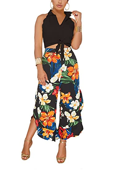 858d4a2e5c5 Aro Lora Women s 2 Pieces Set Sleeveless Tank Blouse Top with Bow + Floral  Print Wide