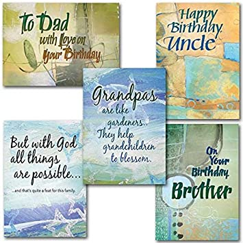 Happy Birthday For Men In Your Life 1st Designs Set Of 5 Deluxe Religious Greeting Cards With Embossed Envelopes Amazoncouk Office Products