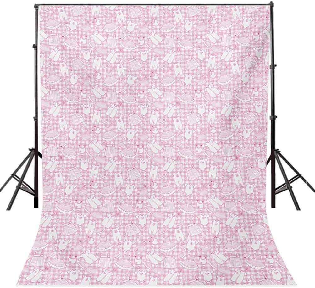Baby 10x15 FT Photo Backdrops,Newborn Girl Clothes with Checkered Background Hearts Stars Flowers Dresses and Hats Background for Photography Kids Adult Photo Booth Video Shoot Vinyl Studio Props
