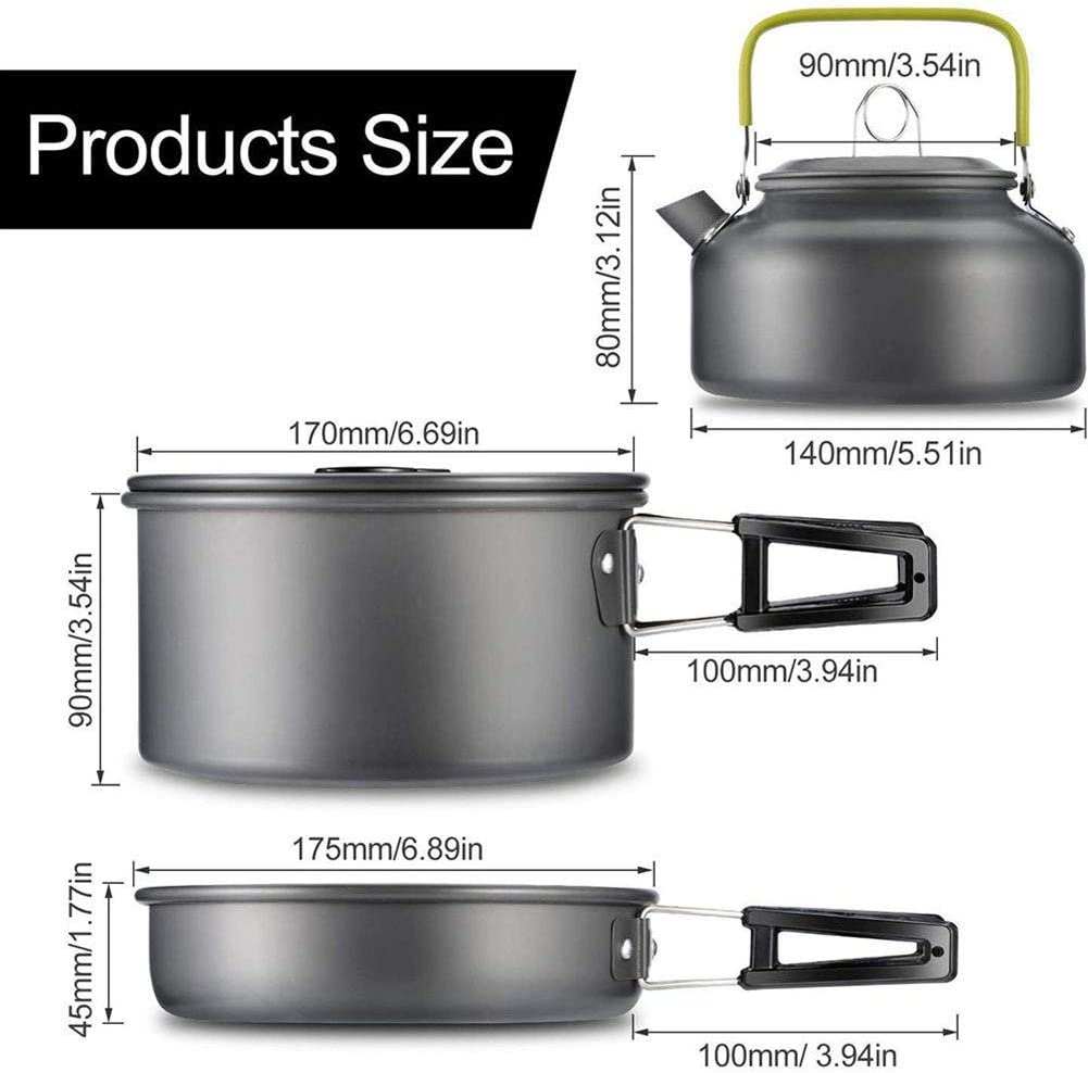 Camping Batterie de cuisine Bouilloire Vaisselle ext/érieure portable Pot Gamelle cuisine Pan Bowl randonn/ée p/édestre pique-nique Size : 3-piece set