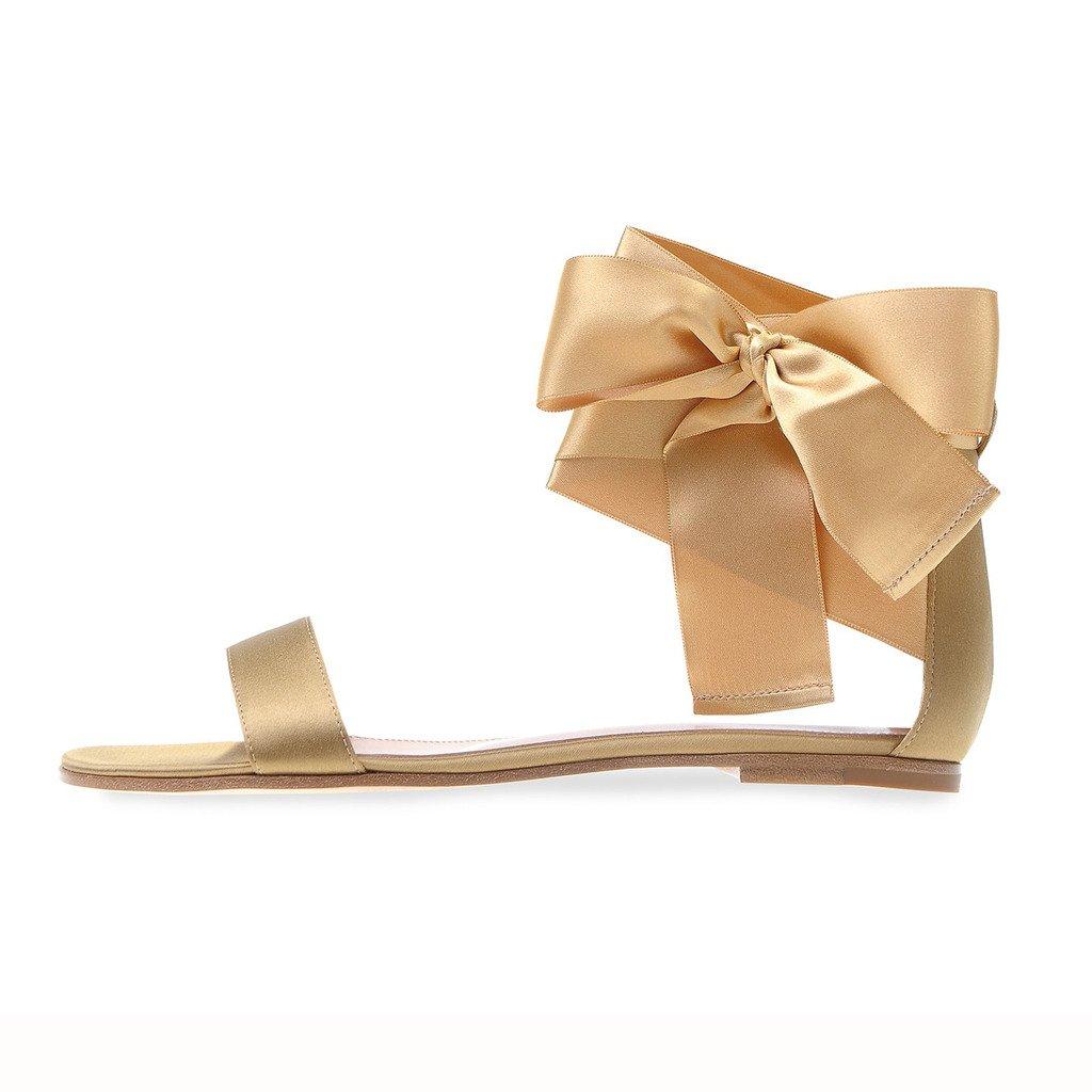 elashe à Chaussures Cheville Femme - Sandales 20000 - Archets Ouverts à la Cheville - Summer Satin Flats Or 6980b87 - automatisms.space