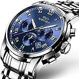 Swiss Men's Stainless Steel Automatic Mechanical Watch Calendar Week Sun And Moon Stars Multifunctional Watch