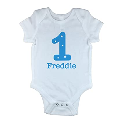 d6a13c8bd Personalised Baby Vest with Number 1 For 1st Birthday Baby Grow ...