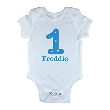 dab9d0194 Personalised Baby Vest with Number 1 For 1st Birthday Baby Grow Bodysuit  Onesie for Girls And