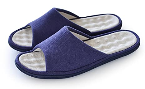 Unisex Slip On Slippers Non-slip Open Toe Sandal COTTON&LINEN Mules Moisture Wicking Flax Shoes for Adult