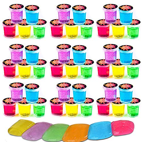 (Squeeze Craft Mini Putty with Glitter - 48 Pack Assorted Neon Color Sludge - Educational Fidget Toy Ideal for Relaxation and Sensory Stimulation, Event Prizes, Goody Bags, Activity Set)