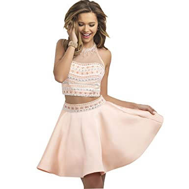 Amazon.com: Kelaixiang Halter Short 2 Piece Prom Dress Rhinestone ...