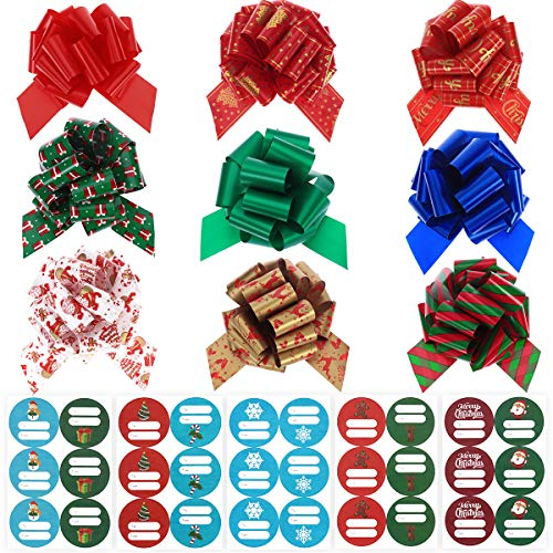 TOYMYTOY Christmas Bows Gift Ribbons 9PCS Gift Wrap Pull Bows with 90PCS Self Adhesive Christmas Gift Tag Stickers Christmas Bows ()