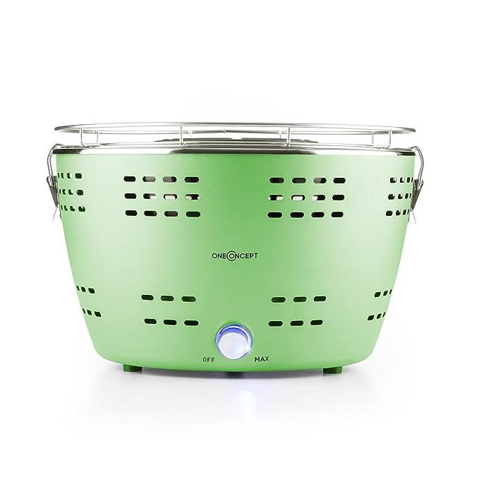 Oneconcept Beefy A Parrilla de carbón portátil (Barbacoa sin Humo, Arranque rápido, Cool Touch, Bolsa de Transporte) - Verde: Amazon.es: Jardín