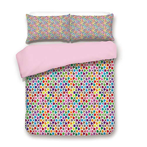 Pink Duvet Cover Set/Queen Size/Fidget Spinner Shaped Abstract Rainbow Colored Image Geometric Ornamental Pattern Decorative/Decorative 3 Piece Bedding Set with 2 Pillow Sham/Best Gift For Girls Women ()