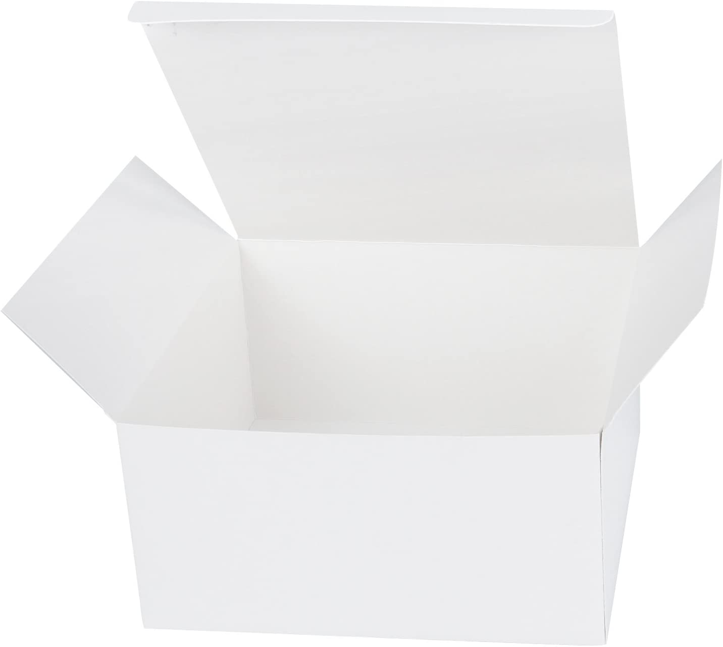 LaRibbons 20Pcs Recycled Gift Boxes - 8 x 8 x 4 inches White Paper Box Kraft Cardboard Boxes with Stickers Cotton String, Perfect for Party, Wedding, Gift Wrap
