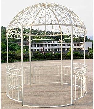 Gran carpa Kiosko de jardín pérgola refugio redondo Gloriette de hierro forjado color blanco 250 x 250 x 290 cm: Amazon.es: Jardín