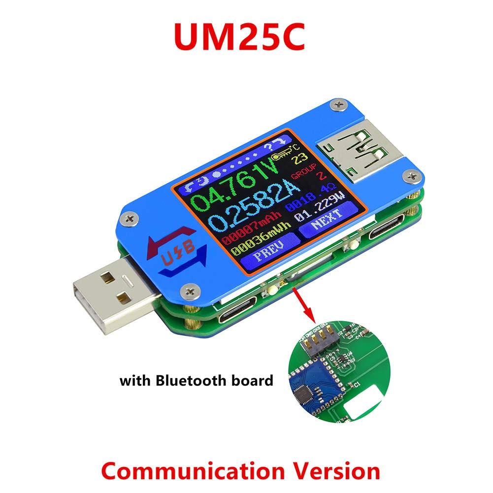 Cutogain Um25 Um25 C Type-C LCD Voltmè tre Ampè remè tre testeur de câ ble de Charge de Batterie Ré sistance pour l'application USB 2.0, UM25