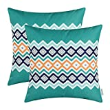 CaliTime Pack of 2 Soft Canvas Throw Pillow Covers Cases for Couch Sofa Home Decor Bohemian Style Colorful Zigzag Striped Geometric 18 X 18 Inches Teal