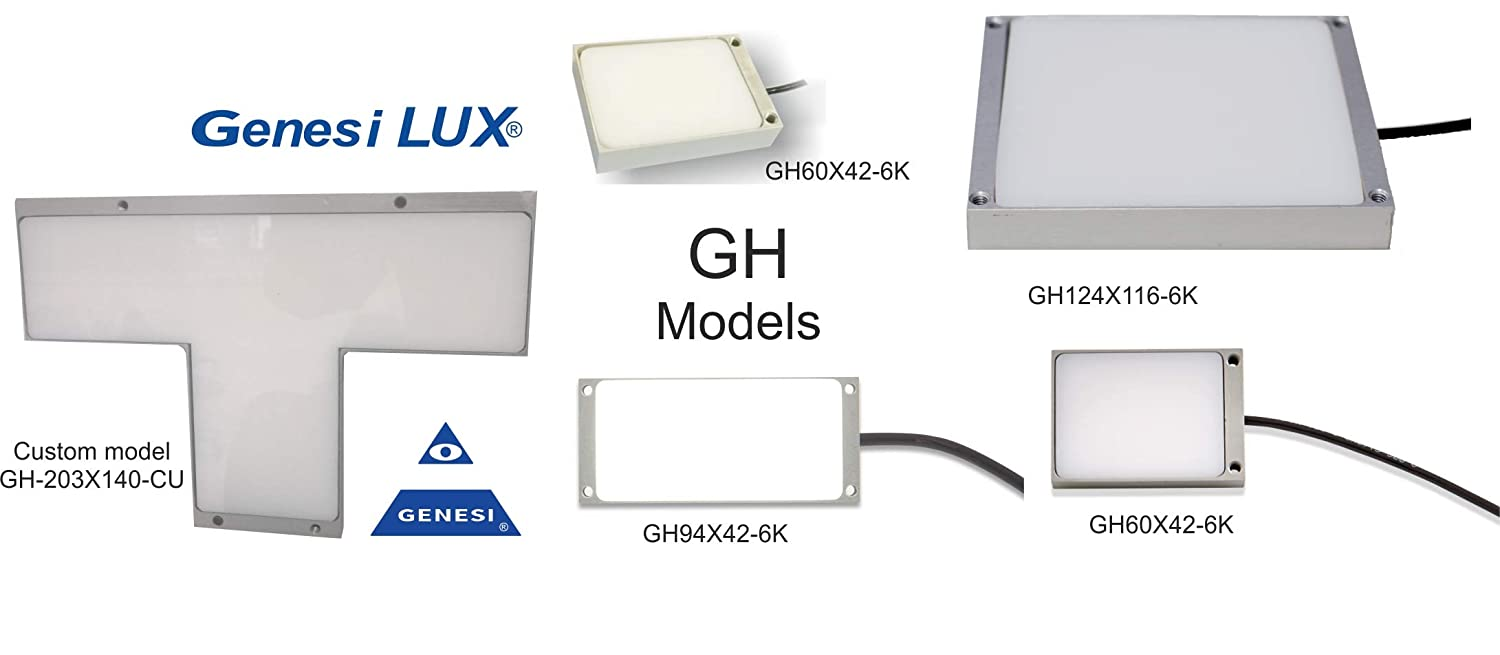 Backlight Led Panel GH Family from 50x36 to 124x116 mm Thickness 12 mm, cold White 6000K 30000cd/m2 24Vdc Cable 2mt, IP60 Lighting of Machinery applications, 50x36 mm 300 Lm White 6000K, 1