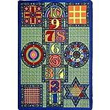 Joy Carpets Kid Essentials Active Play & Juvenile Games Galore Rug, Multicolored, 7'8'' x 10'9''