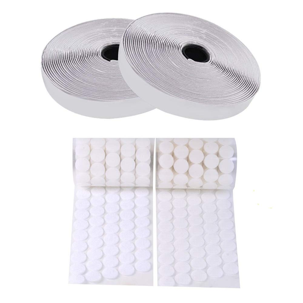 mciskin Self Adhesive Kit (Hook & Loop Roll and Dots Tape, ) Back Fastening Strips (16.5feet/5M *2) and 100 Pair Sticky Back Coins Dots Tape (Diameter 20mm)