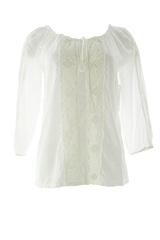 VELVET by Graham & Spencer Women's Crochet Front Peasant Blouse Small White