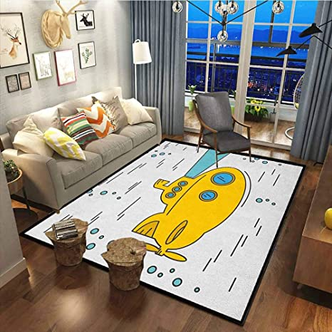 Yellow Submarine Rug For Bedroom For Kids Nursery Teens Room Girls Boys Ocean Nautical Adventure Underwater Bubbles Porthole Cartoon Kids White Yellow Blue60x78 Inch Kitchen Dining