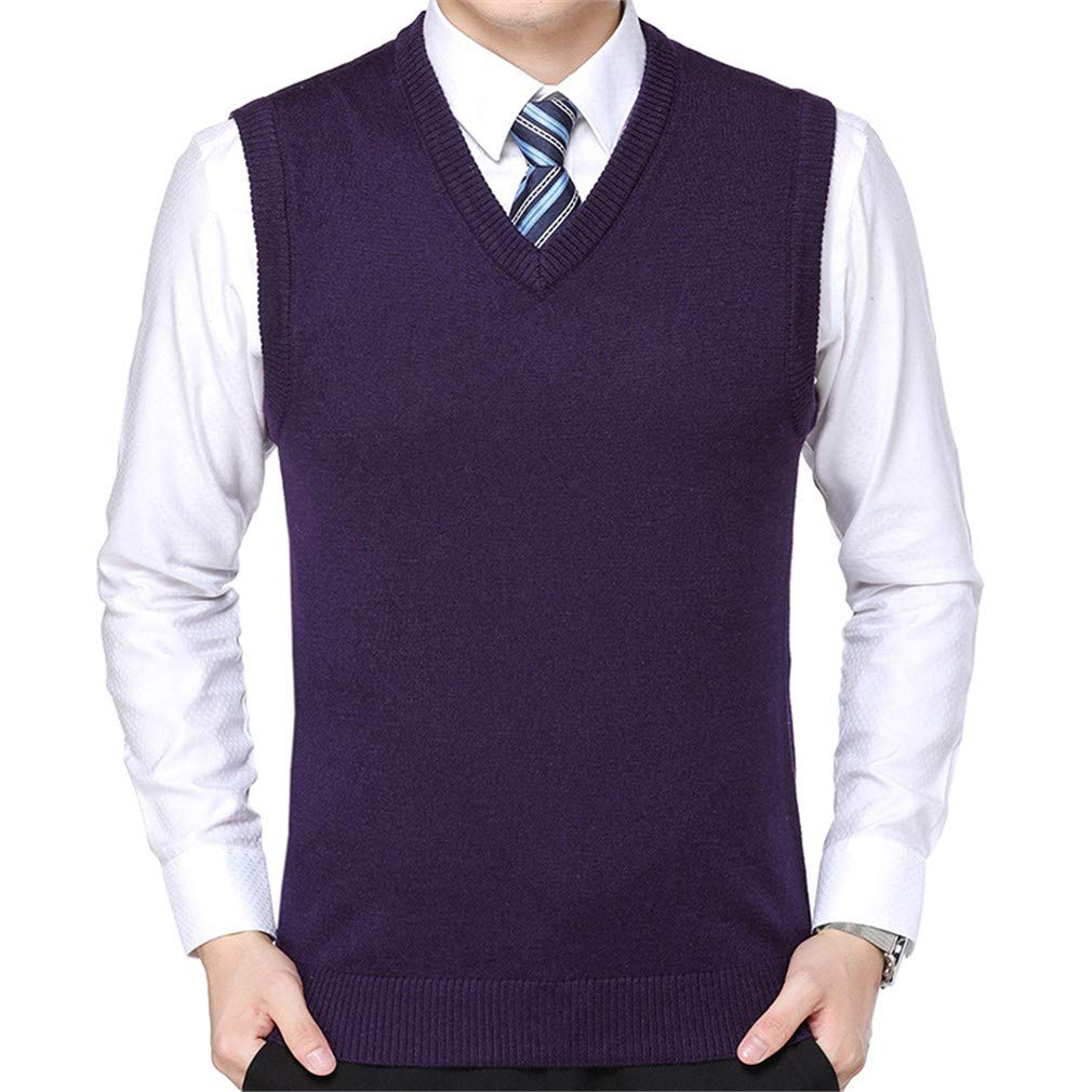 YUCH Mens Knitted V-Neck Vest Casual Vest