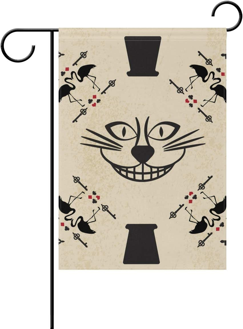 SUABO Double Sided Polyester Garden Flag 28x40 Inches Cheshire Cat Decorative Flag for Party Yard Home Decor