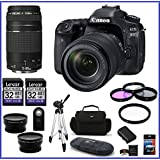 Canon EOS 80D DSLR Camera with 18-135mm Lens (USA) + Canon EF 75-300mm f/4-5.6 III Lens + 32GB Memory Cards (2X) + 58mm Telephoto & Wide Angle Lenses + Spare Battery and more ...