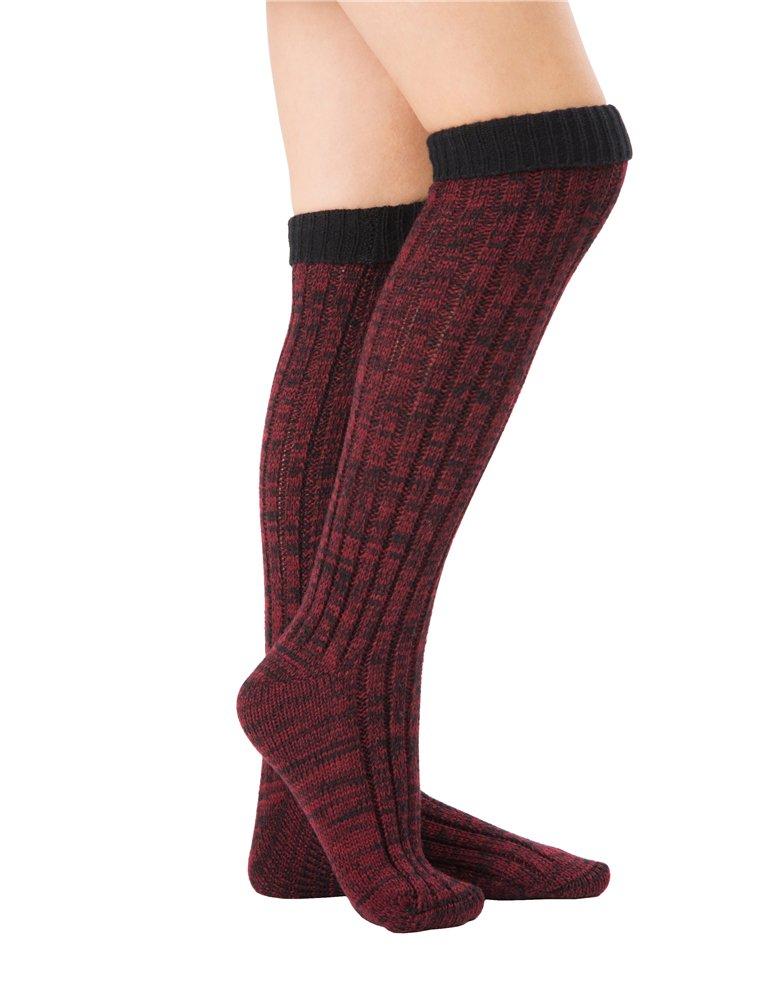 SherryDC Women's Ribbed Knit Knee High Boot Socks Winter Long Leg Warmers Stockings Winered Free Size