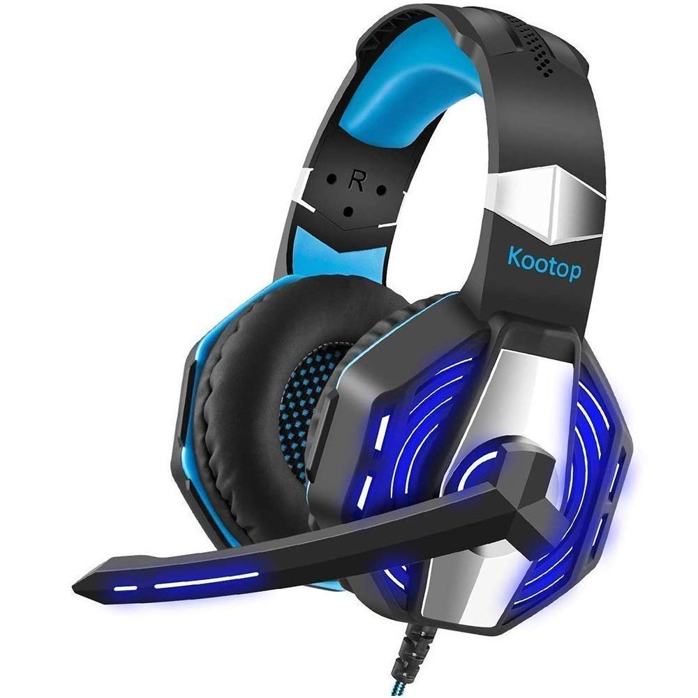 Kootop Stereo Gaming Headset for Xbox one,PS4 PC, Noise Cancelling Over Ear Headphones with Mic,Soft Earmuffs,Bass Surround,LED Light,for Laptop Tablet Phone(Black&Blue) by Kootop